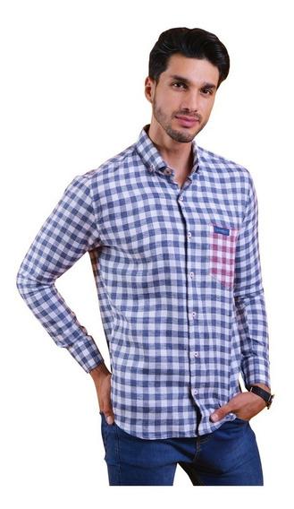 Porto Blanco Camisa Caballero Algodon Azul Cuadros