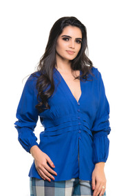 Blusa Kímika Com Aberto Frontal Azul Royal.