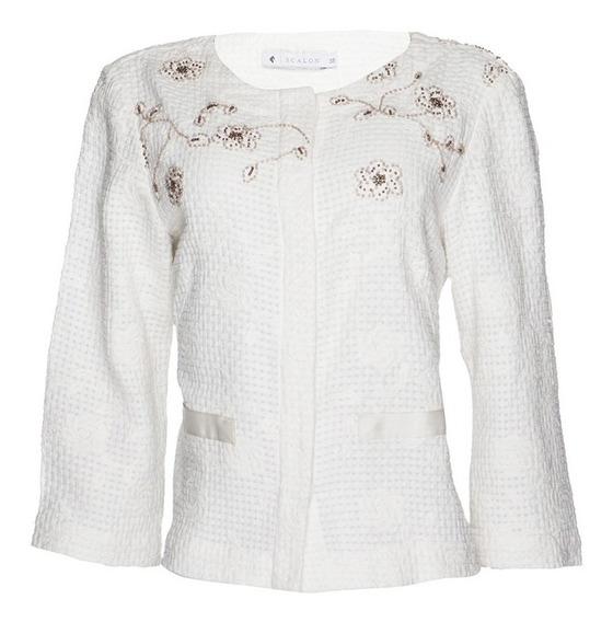 Casaco Jaqueta Em Tweed Bordado A Mão Scalon 380012 Original
