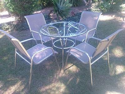Cadeiras E Mesa Alumínio Com Tela Sling Piscina Jardim Praia