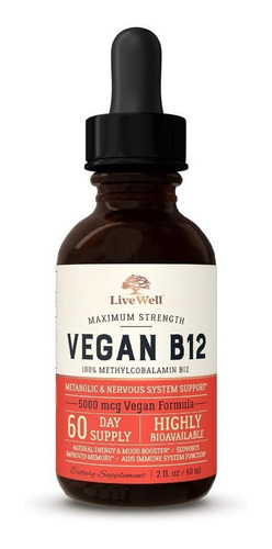 Livewell Vegan B12 Liquido Soporte Metabolico Sist Nervioso