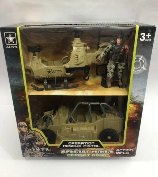 Set De Vehiculos Militares X2 Special Force + Figura