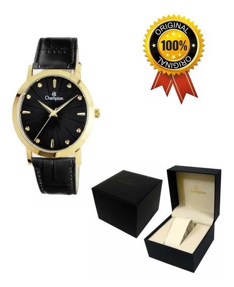 Relógio Feminino Champion Pulseira De Couro - Ref - Cn20622p