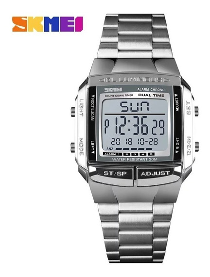 Relógio Skmei Prata 1381 Retro Similar Casio Digital