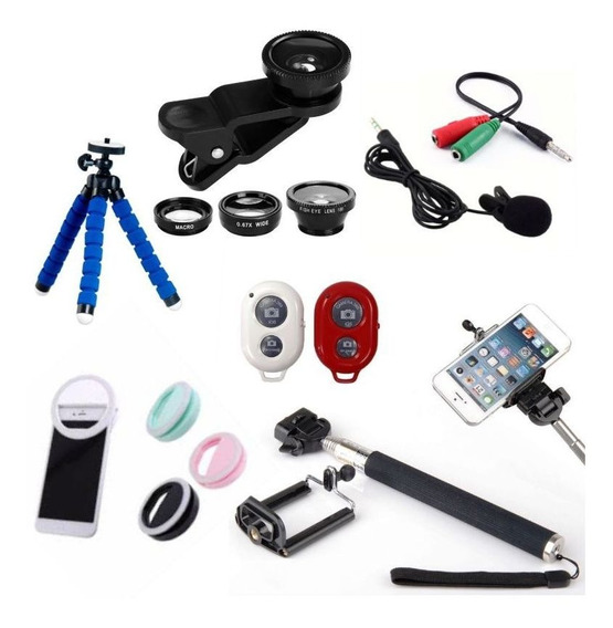 Kit Youtubers 7x1 Samsung Tripé, Bastão, Mic, Flash, Lentes