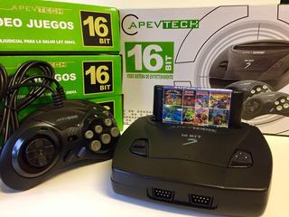 Consola 16 Bit Sega Apevtech + 2 Controles + 109 Juegos