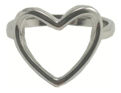 Anel Coração Vazado - Banhado Ródio Semi Jóia Com Garantia