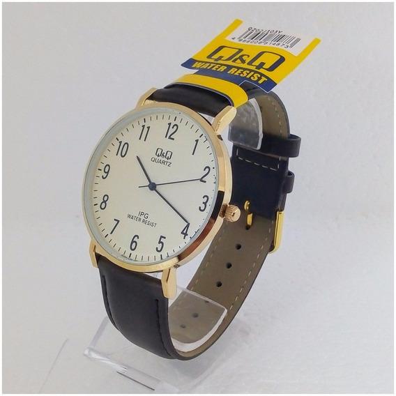 Relógio Masculino Qq Quartz 103y Original Dourado Pulseira De Couro Excutivo Vip Luxo Frete Grátis