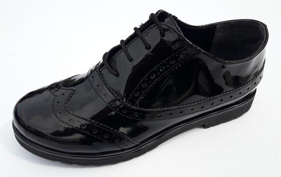 Zapatos Dama Con Cordones Charol Lorena Ba Mocasines