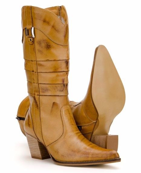 Bota Feminina Country Texana Couro Alta Capelli Boots Preta