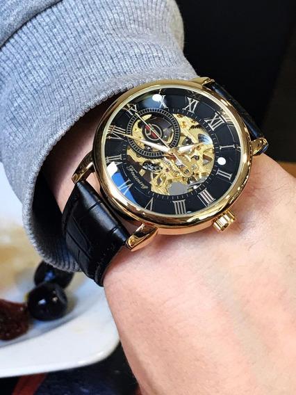 Relógio Dourado Esqueleto Semi Automat Social Aço Inox Couro
