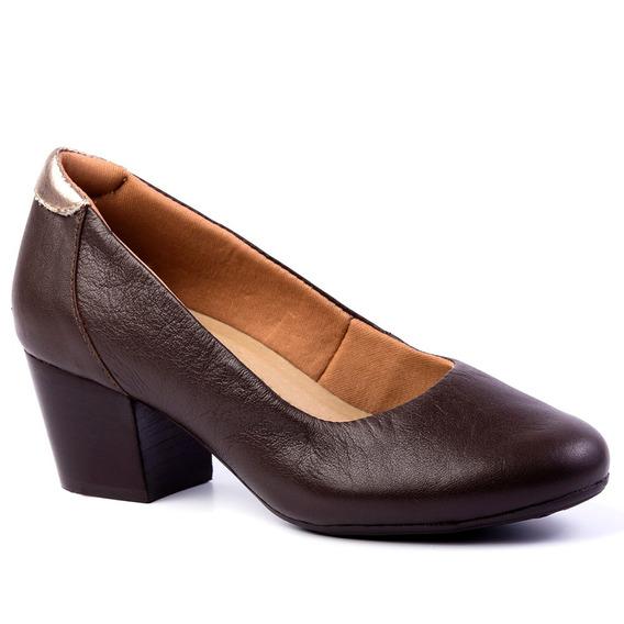 Sapato Feminino 278 Em Couro Café/metalic Doctor Shoes