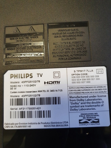 Tv Led Philips 43pfg5102/78