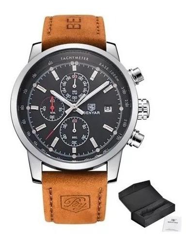 Relógio Masculino Original Luxo Benyar Couro E Aço Promoção