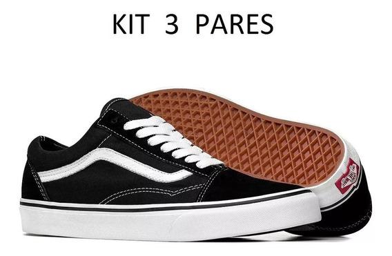 Tenis Vans Feminino Masculino Skate Kit 3 Pares Promoção