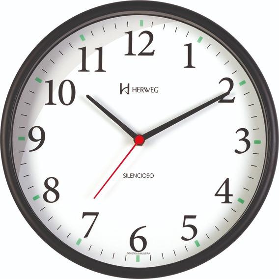 Relógio Silencioso Parede Preto 26cm Contínuo Herweg 6126s
