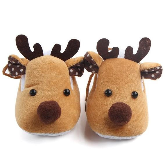 Zapatos Pantuflas Bebé Reno Navidad Invierno Niño Niña