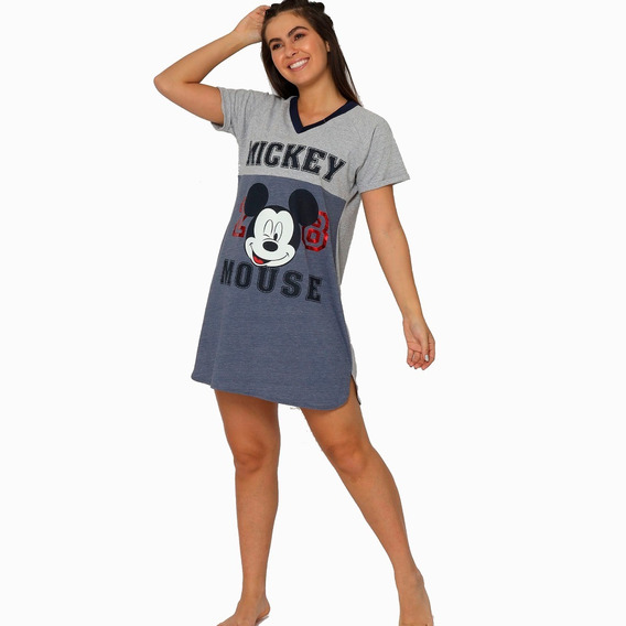 Pijama Dama Camison Mickey Mouse Disney Gris Marino 7120
