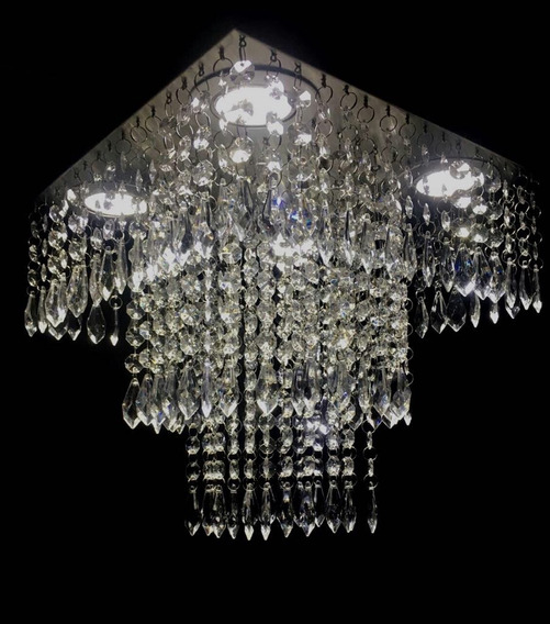 Lustre De Cristal Acrílico 30x30 Montado C/iluminação Grátis