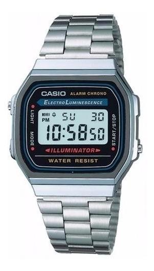 Relógio Casio A168wa1wdf Prata Unisex Retro Vintage Original