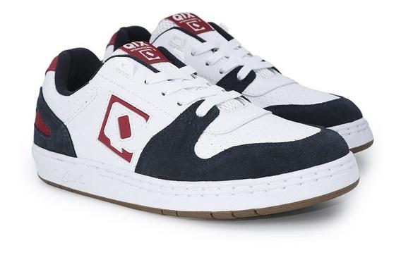 Tênis Qix Skate Full Branco Marinho Vermelho Retrô Original