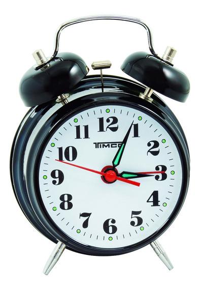 Despertador Doble Campana De Cuerda Negro Al/8023n