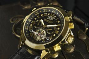 Relógio Calvaneo 1583 Astonia Black Diamond Gold Automatico
