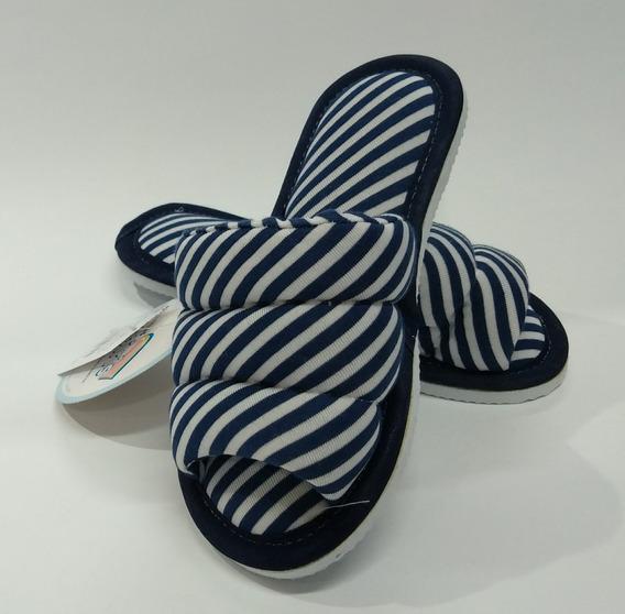 Chinelo Pantufa De Quarto Tecido Listra Azul Pano Infantil