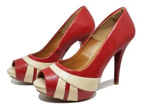 Sapato Meia Pata Salto Alto Vermelho - Nude - Preto 277