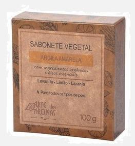 Kit 2 Sabonete Barra Argila Amarela E Bucha Vegetal