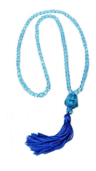Japamala 108 Contas De Cristal 6mm Azul Claro Com Meru Buda