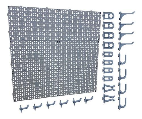 Imagem 1 de 4 de Painel Plástico Porta Ferramentas Completo Com Ganchos Cinza