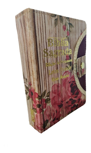 Bíblia Sagrada Com Harpa Média Com Botão + Caneta