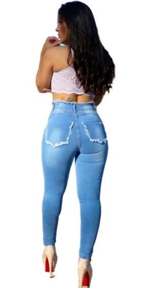 Linda Calça Jeans Roupas Feminina Rasgada Cós Alto Promoção