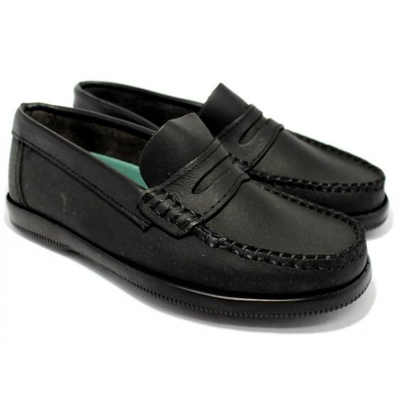 Zapato Mocasín Clásico Hombre Mujer Niño De Cuero Tipo Escolar Cocido