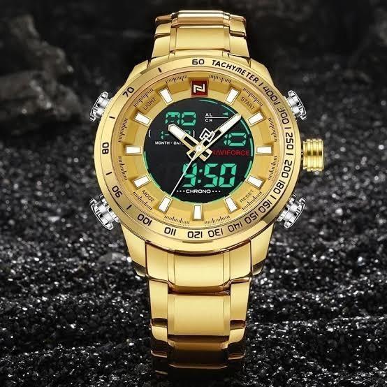 Relógio Masculino Naviforce Luxo - Dourado Original