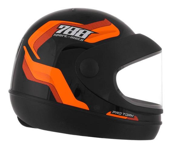 Capacete Sport Moto 788 Preto E Laranja Tamanho 60 Cap-496lr