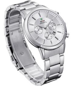 Relógio Pulso Clássico Casual Aço Inox Weide Wh3312 Original