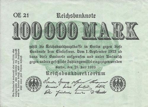 Imagen 1 de 2 de Alemania 100000  Marcos 1923