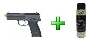 Pistola Airsoft H&k Umarex Usp.45 Kwa + Bbs Tróia 0.20/2000