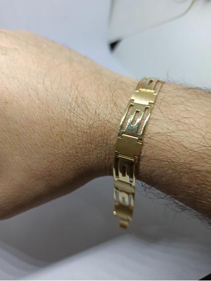 Pulseira Masculina Bracelete Chapa Ouro 18k-750 Garantia