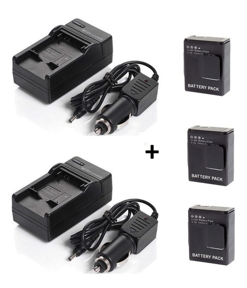 Lote 3 Baterias Ahdbt-302 Gopro Hero 3 + Dois Carregadores
