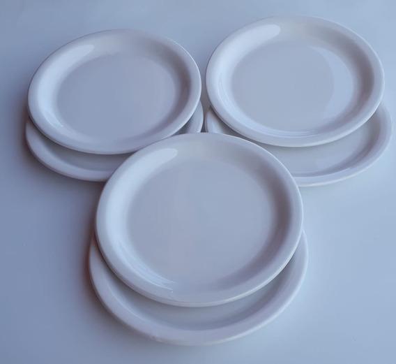 Kit 12 Pratos Raso Em Cerâmica Branco Liso Cozinha Refeição