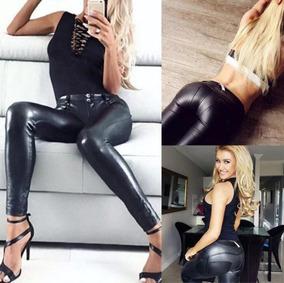Leggings Cuero Vinipiel Mujer Dama Negro Pantalón Sexy