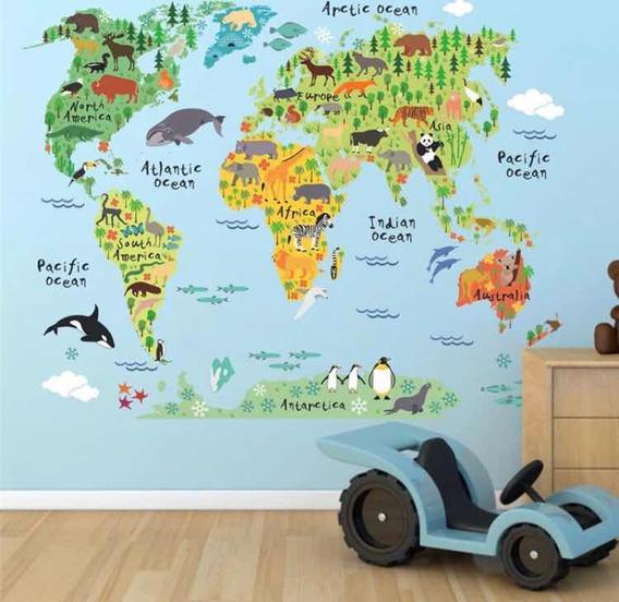Pegatina Mapa Del Mundo Con Dibujos Animados. Envío
