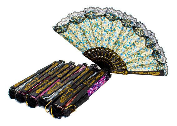 12 Abanico Vintage Elegante Tela Recuerdo Boda Fiesta