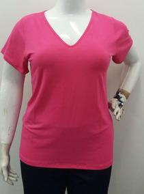 Roupa Blusa Camiseta Feminina Lisa Plus Size Decote V Básica