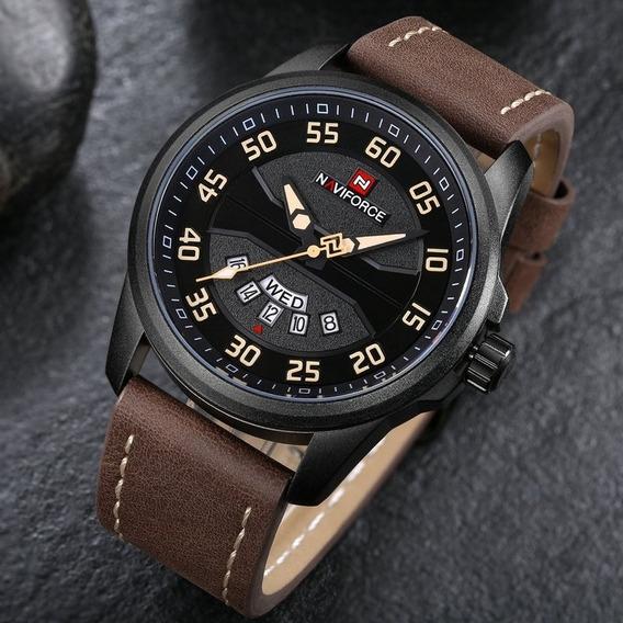 Relógio Naviforce Nf9124/ Original / Couro/ Preto/cáqui