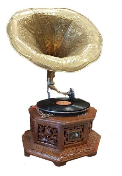 Vitrola Gramófono Disco De Pasta Madera Hindú Tallada A Mano