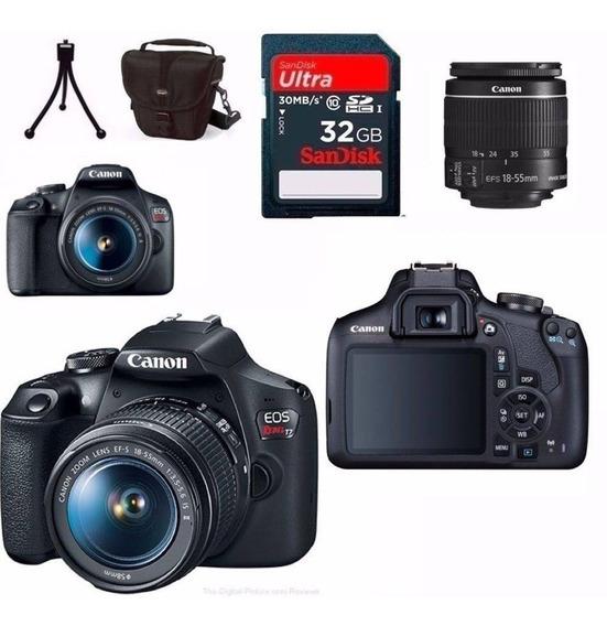 Câmera Canon Rebel T7 C/ 18-55mm Is Ii + 32gb+ Bolsa+ Tripé